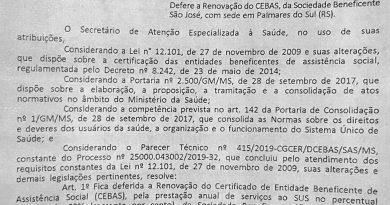 Hospital São José recebe renovação do certificado de filantropia